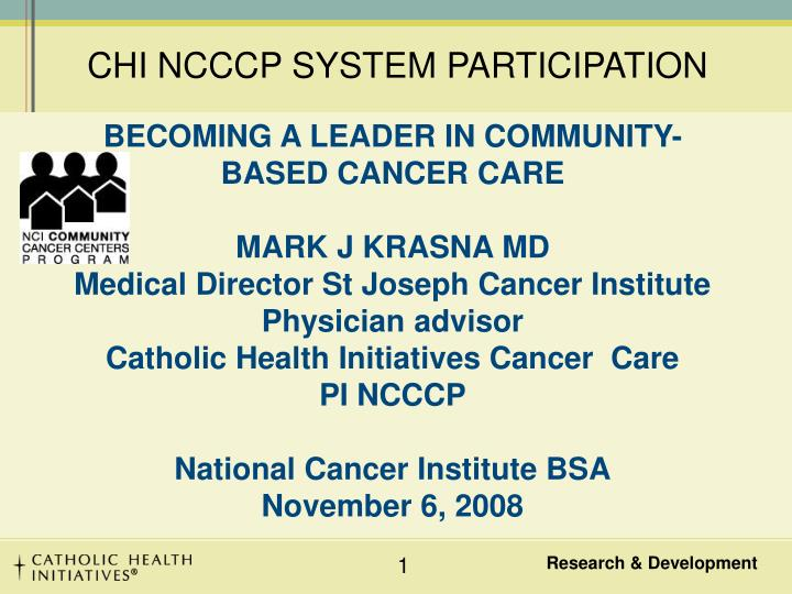 CHI NCCCP SYSTEM PARTICIPATION