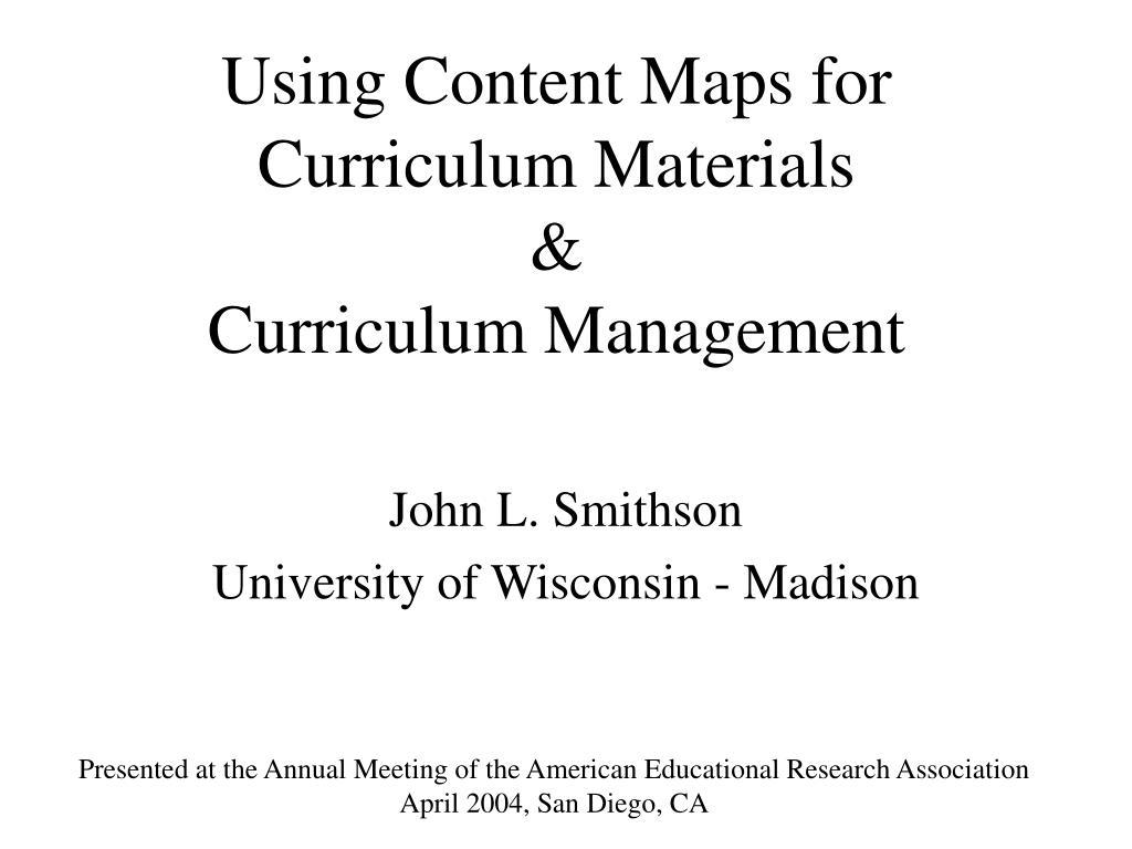 using content maps for curriculum materials curriculum management l.