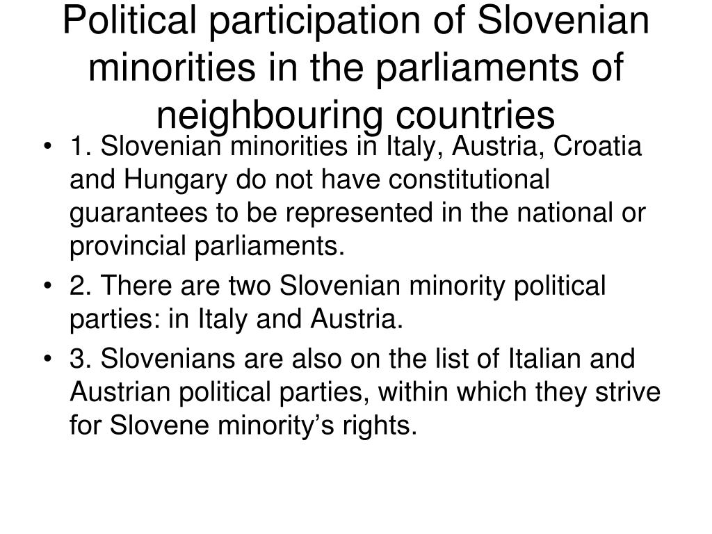 Political participation of Slovenian minorities in the parliaments of neighbouring countries