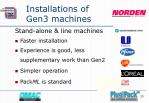 installations of gen3 machines