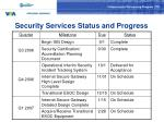 security services status and progress