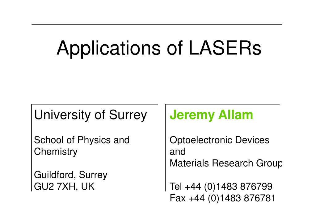 applications of lasers l.