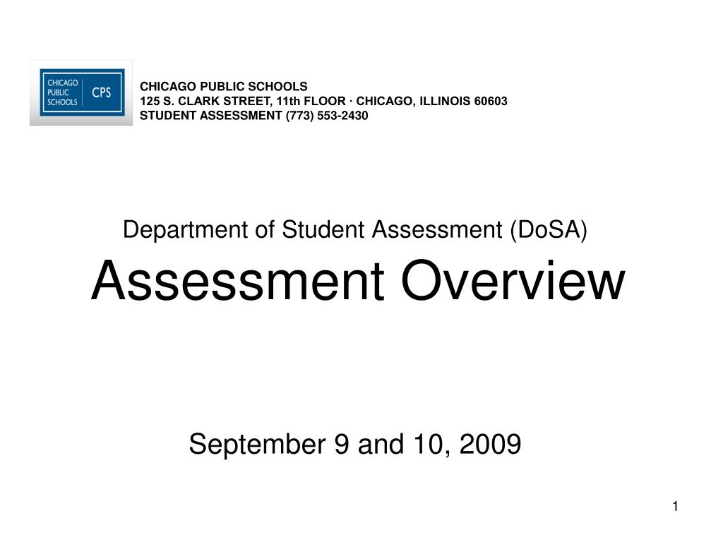 department of student assessment dosa assessment overview september 9 and 10 2009 l.