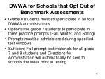 dwwa for schools that opt out of benchmark assessments