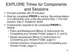 explore times for components and sessions