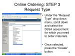 online ordering step 3 request type