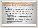 gathering information for external environmental analysis