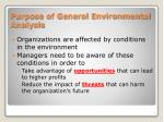 purpose of general environmental analysis