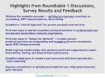 highlights from roundtable 1 discussions survey results and feedback