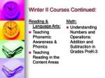 winter ii courses continued