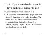 lack of parameterized classes in java makes dj harder to use