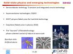 solid state physics and emerging technologies