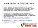 tres modelos de financiamiento