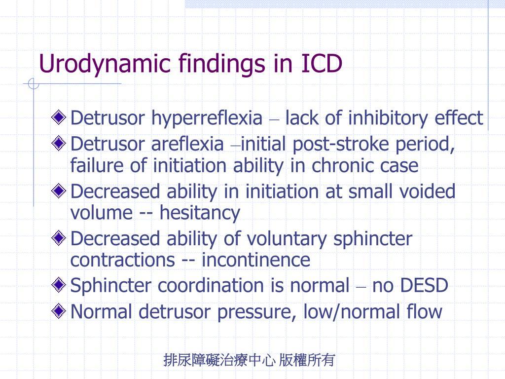 Urodynamic findings in ICD