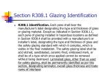 section r308 1 glazing identification