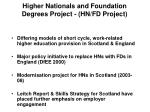higher nationals and foundation degrees project hn fd project