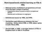 work based work related learning on fds hns