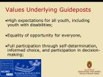 values underlying guideposts