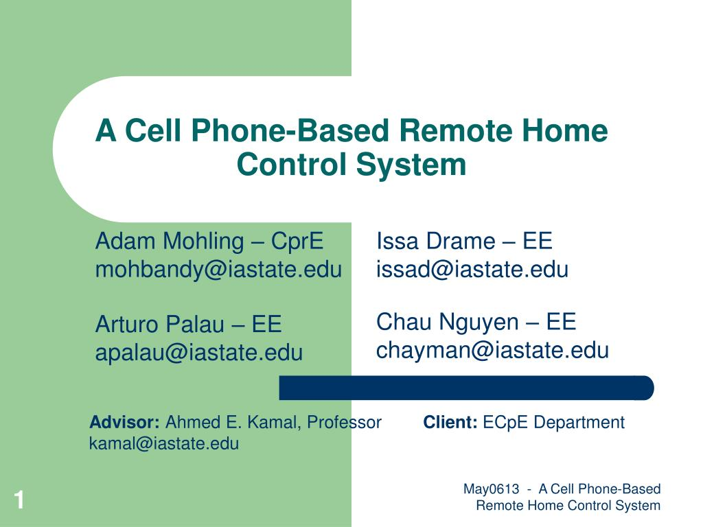 a cell phone based remote home control system l.