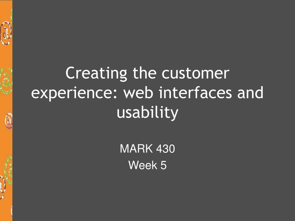 creating the customer experience web interfaces and usability l.