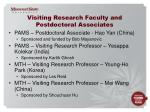 visiting research faculty and postdoctoral associates