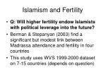 islamism and fertility