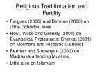 religious traditionalism and fertility