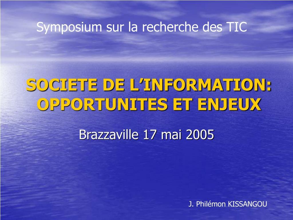 societe de l information opportunites et enjeux l.