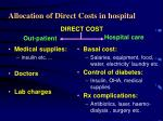 allocation of direct costs in hospital