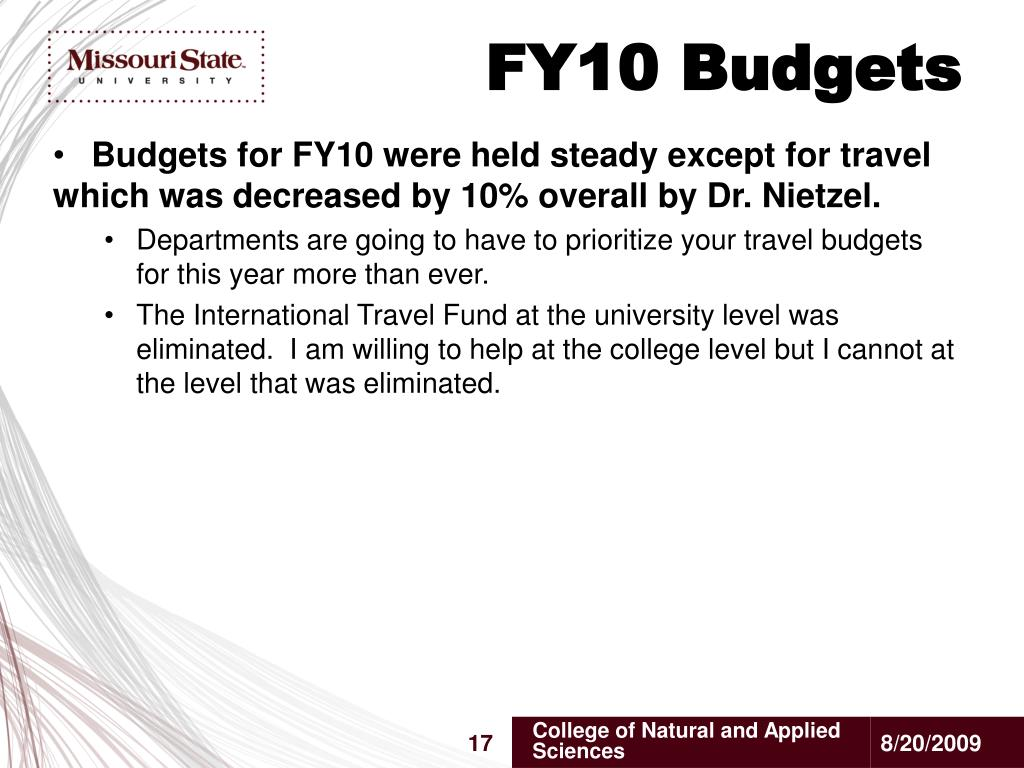 FY10 Budgets