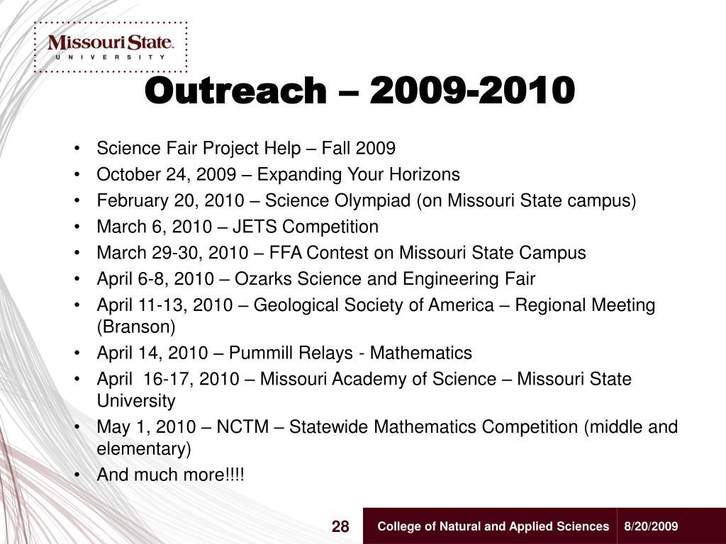 Outreach – 2009-2010