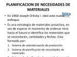 planificacion de necesidades de materiales