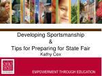 developing sportsmanship tips for preparing for state fair