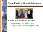 state fashion board selections