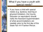 what if you have a youth with special needs