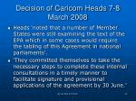decision of caricom heads 7 8 march 2008