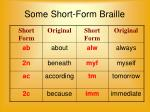 some short form braille