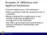 examples of affiliations with applicant institutions