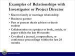 examples of relationships with investigator or project director