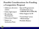 possible considerations for funding a competitive proposal