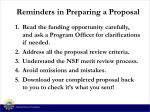 reminders in preparing a proposal