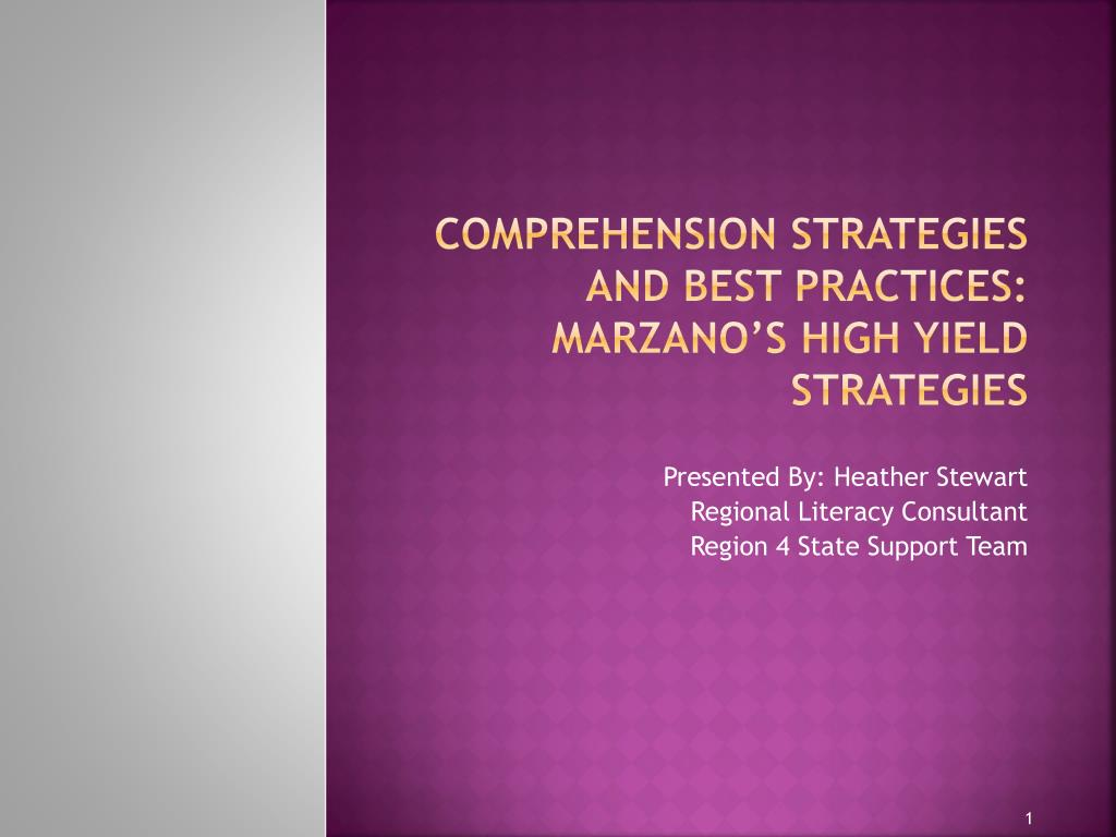 comprehension strategies and best practices marzano s high yield strategies l.