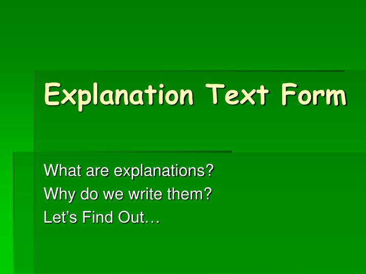 explanation text form n.