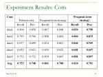 experiment results cons