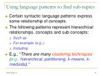 using language patterns to find sub topics