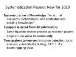 systematization papers new for 2010