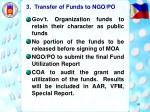 3 transfer of funds to ngo po