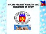 7 point priority areas of the commission on audit