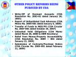 other policy reforms being pursued by coa