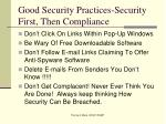 good security practices security first then compliance